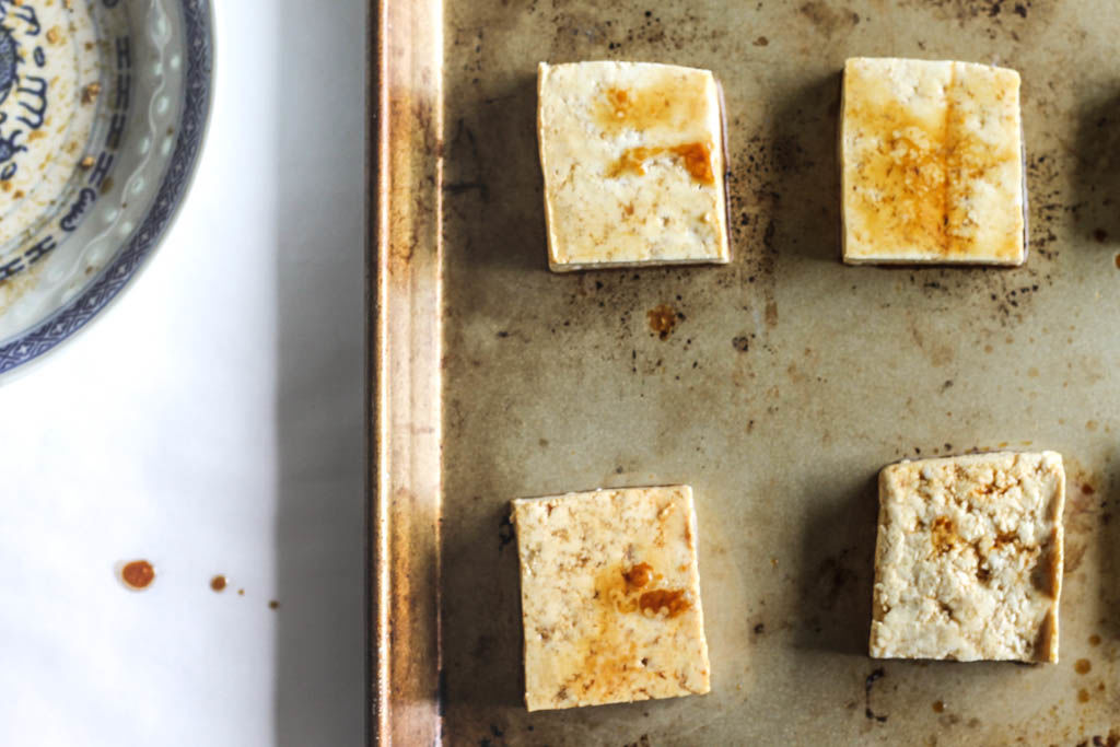 marinated tofu ready to be roasted