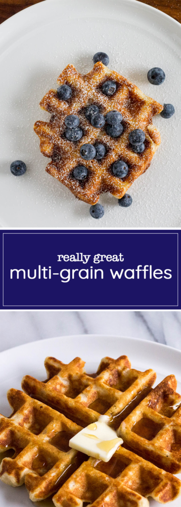 These multi-grain waffles require only one bowl, and even give you the courtesy of letting you finish your coffee while making them. Who's hungry?