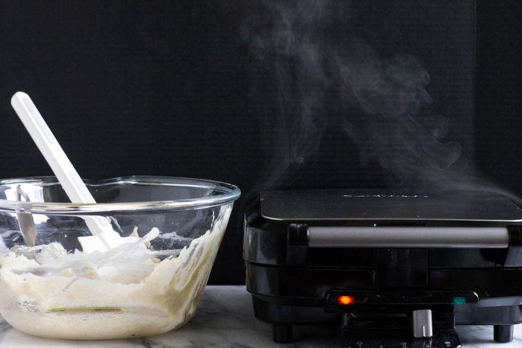 steamy waffle iron