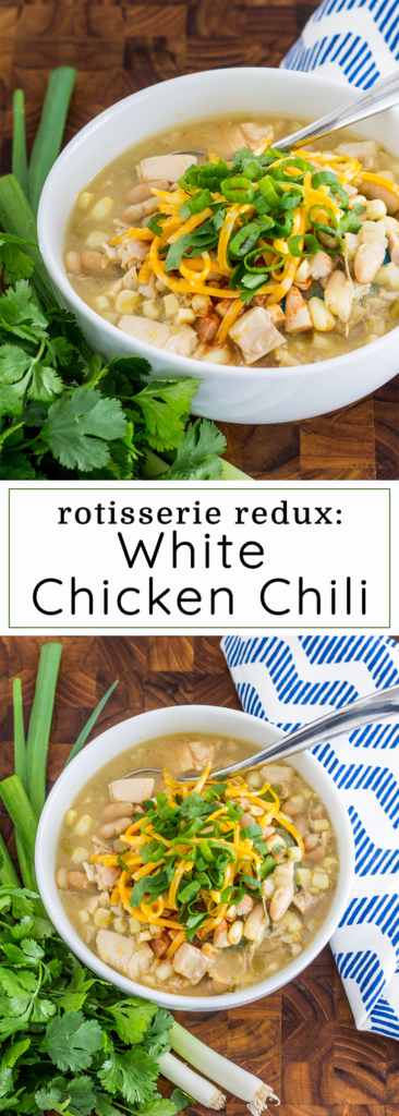 Transform your boring rotisserie chicken into this hearty White Chicken Chili.