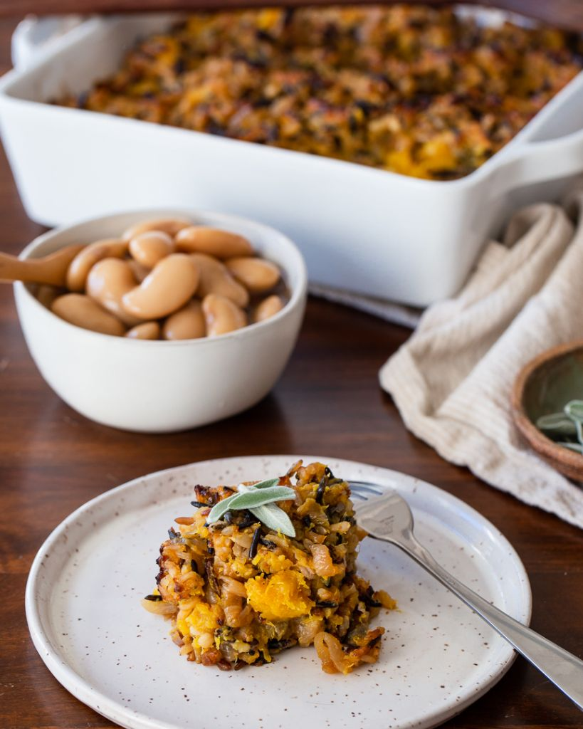 Wild Rice Stuffing with Roasted Squash and Sweet & Sour Onions - Vegan and Gluten free Thanksgiving!
